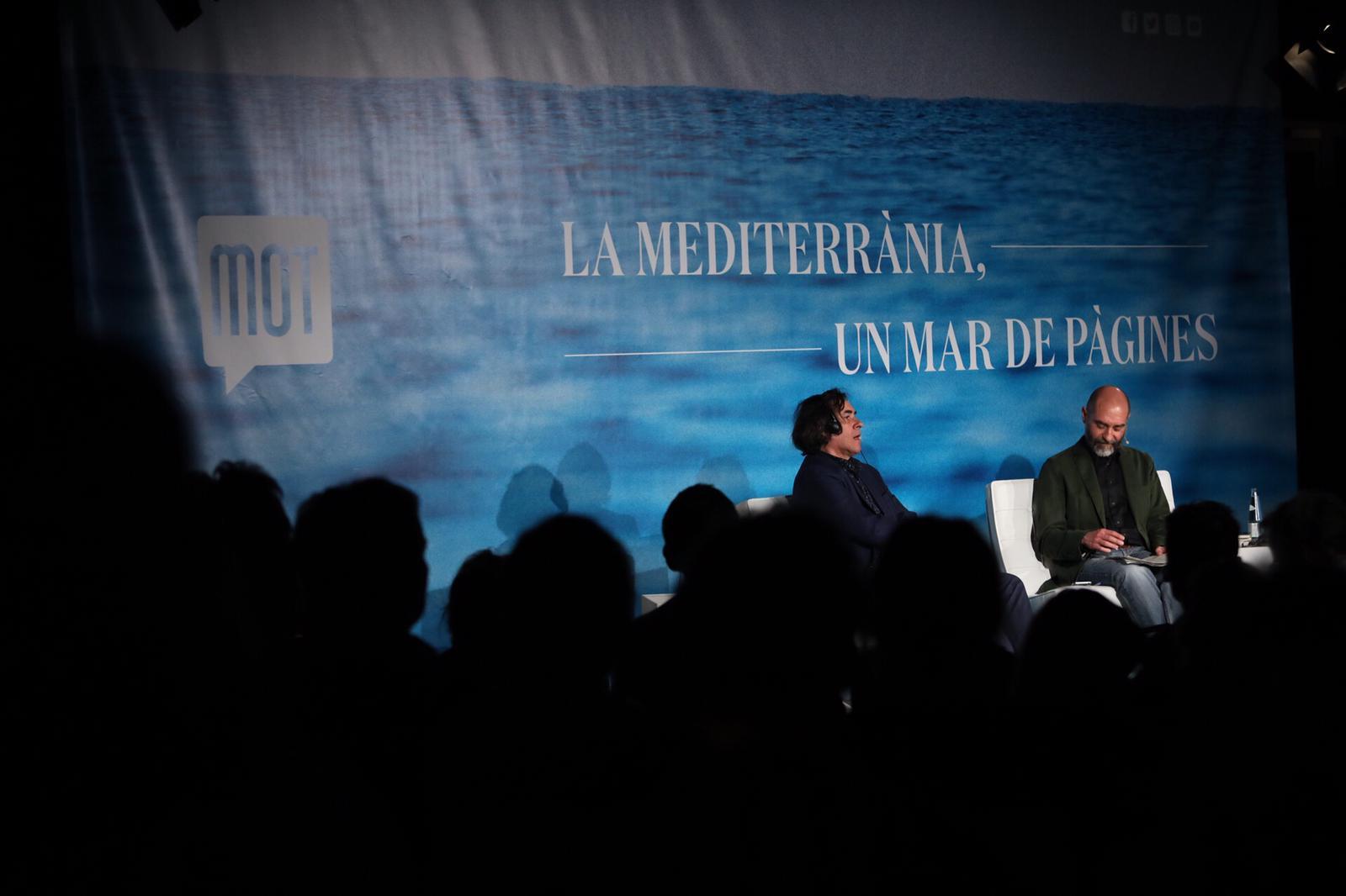 Conversa entre Mircea Cărtărescu i Xavier Montoliu Pauli, al MOT 2019. Foto: Martí Albesa.